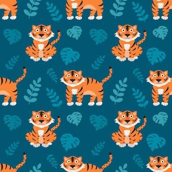 Schattige kleine tijgers met tropische planten op blauwe achtergrond, vector naadloos patroon