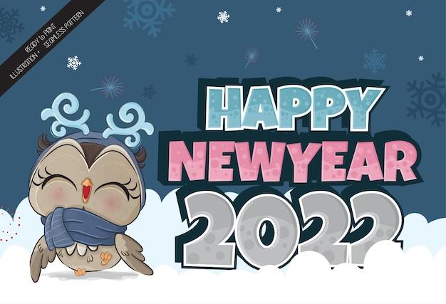 Schattige kleine uil gelukkig nieuwjaar 2022 op de sneeuw illustratie illustratie van background
