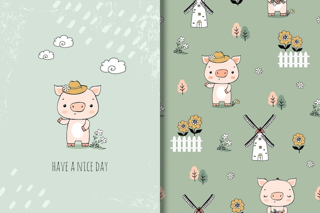 Schattige kleine varken cartoon karakter illustratie in hand getrokken stijl. kaart en naadloos patroon.