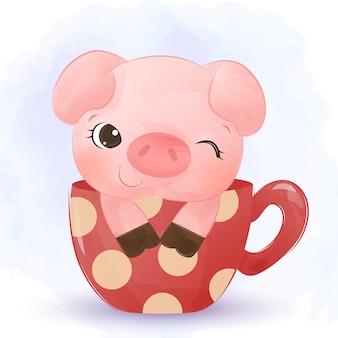 Schattige kleine varken in een beker aquarel