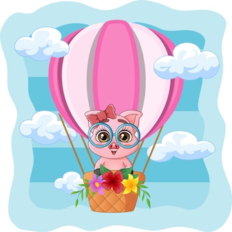 Schattige kleine varken vliegen in een hete luchtballon