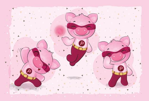 Schattige kleine varkenshelden illustratie