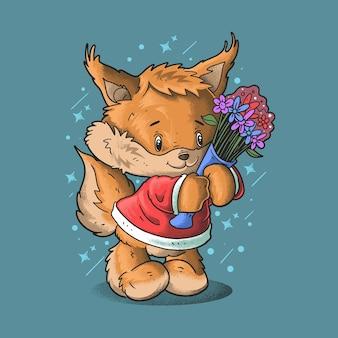 Schattige kleine vos breng bloem illustratie grunge