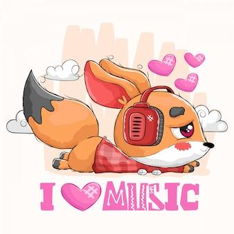 Schattige kleine vos luisteren naar muziek met een koptelefoon