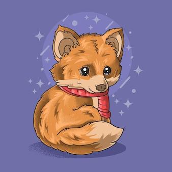 Schattige kleine vos mooie ogen illustratie grunge