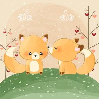 Schattige kleine vossen kussen