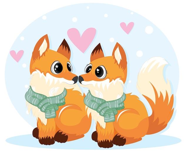 Schattige kleine vossen voor valentijnsdag kaart