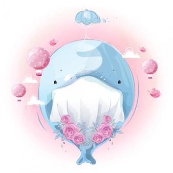 Schattige kleine walvis met zijn eerste vliegtraining met ballon in heldere hemel.