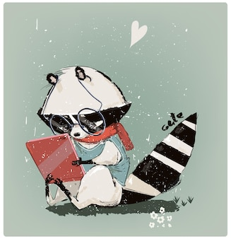 Schattige kleine wasbeer met tablet. vector illustratie