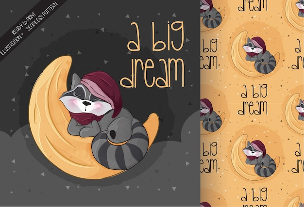 Schattige kleine wasbeer slapen op de maan illustratie illustratie van background