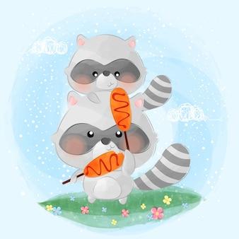 Schattige kleine wasberen eet corndog