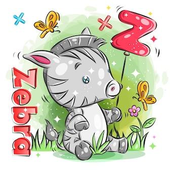 Schattige kleine zebra houden rode ballon met eerste z. kleurrijke cartoon afbeelding.
