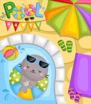 Schattige kleine zeehonden feesten in het zwembad