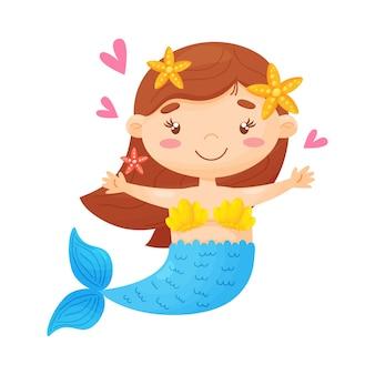 Schattige kleine zeemeermin cartoon afbeelding
