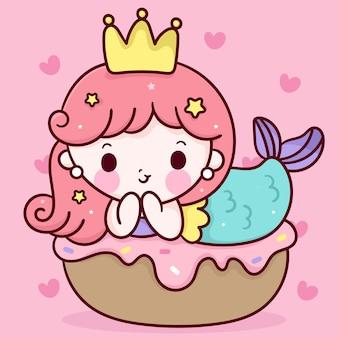 Schattige kleine zeemeermin cartoon slaap op verjaardag cupcake kawaii dier