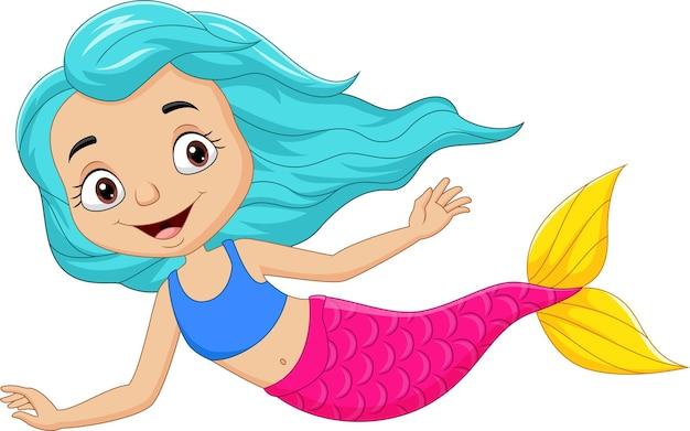 Schattige kleine zeemeermin cartoon