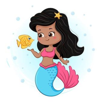 Schattige kleine zeemeermin en vis illustratie