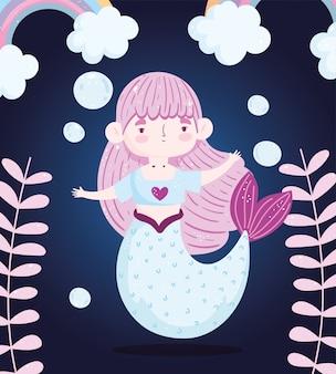 Schattige kleine zeemeermin fantansy regenboog bubbels en zeewier cartoon donkere achtergrond