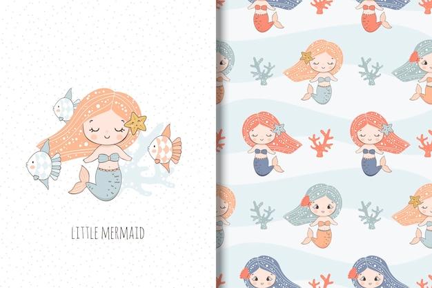 Schattige kleine zeemeermin illustratie en naadloos patroon