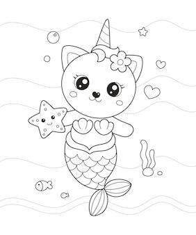 Schattige kleine zeemeermin kat tekening kleurplaat