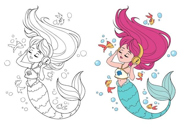 Schattige kleine zeemeermin met lang haar en het dragen van een t-shirt naar muziek luisteren.