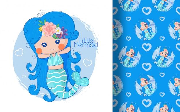 Schattige kleine zeemeermin naadloze patroon. illustratie voor kinderen