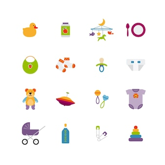 Schattige kleur baby pictogrammen instellen. speelgoed en kinderjaren, kinderwagen en eend, vectorillustratie