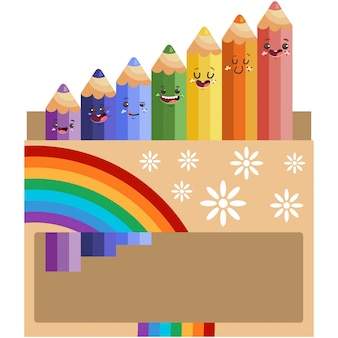 Schattige kleur potlood tekens in doos met verschillende emoties cartoon vectorillustratie geïsoleerd