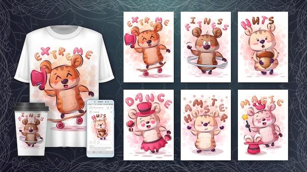 Schattige knaagdier hamster - poster en merchandising