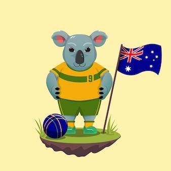 Schattige koala cartoon spelen voor het voetbalteam van australië. australische dag vieren