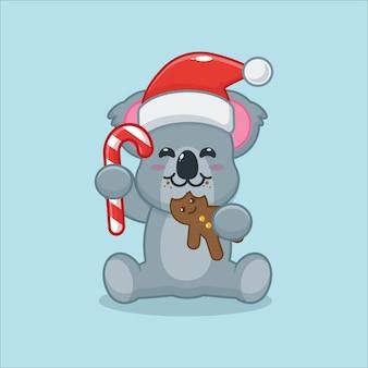 Schattige koala die kerstkoekjes eet leuke kerst cartoon illustratie