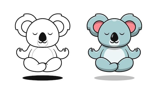 Schattige koala doet yoga tekenfilm kleurplaten voor kinderen