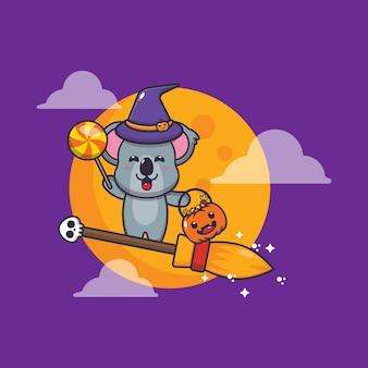 Schattige koala heks vliegen met bezem in halloween nacht schattige halloween cartoon vectorillustratie