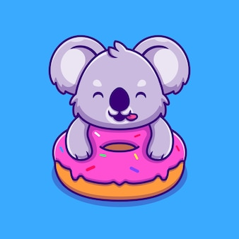 Schattige koala holding donut stripfiguur. dierlijk voedsel geïsoleerd.