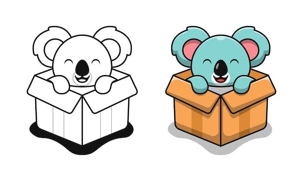 Schattige koala in doos cartoon kleurplaten voor kinderen