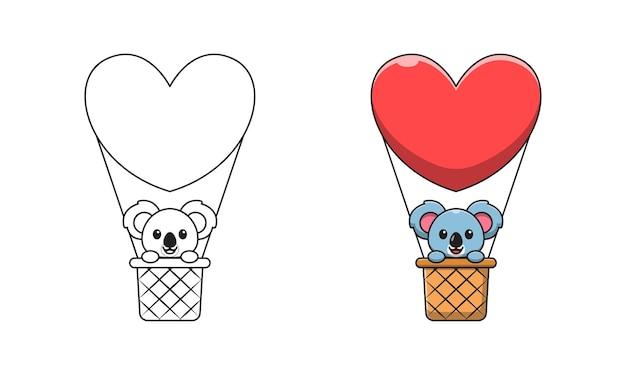 Schattige koala in heteluchtballon cartoon kleurplaten