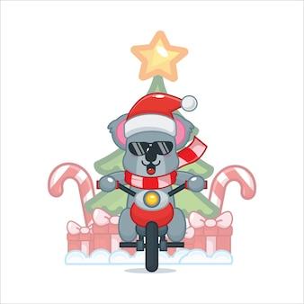 Schattige koala in kerstkostuum die op een motorfiets rijdt leuke kerst cartoon afbeelding