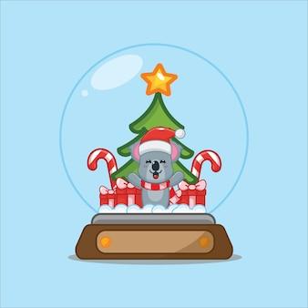 Schattige koala in sneeuwbol leuke kerst cartoon afbeelding