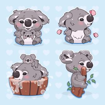 Schattige koala kawaii cartoon vector tekens instellen. aanbiddelijk en grappig glimlachend dier dat met vliegende vlinders geïsoleerde stickers speelt