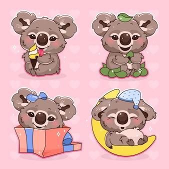 Schattige koala kawaii cartoon vector tekens instellen. schattige en grappige dieren slapen, ijs geïsoleerde stickers eten