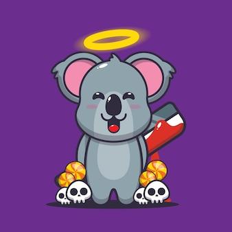 Schattige koala killer helloween schattige halloween cartoon vectorillustratie