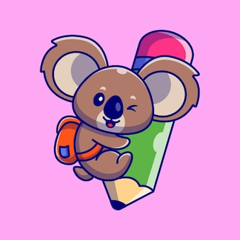 Schattige koala knuffel potlood cartoon afbeelding