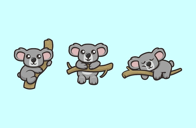 Schattige koala mascotte ontwerp illustratie vector sjabloon set