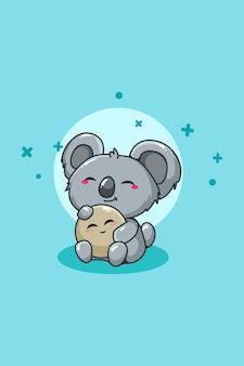 Schattige koala met bal dier cartoon illustratie