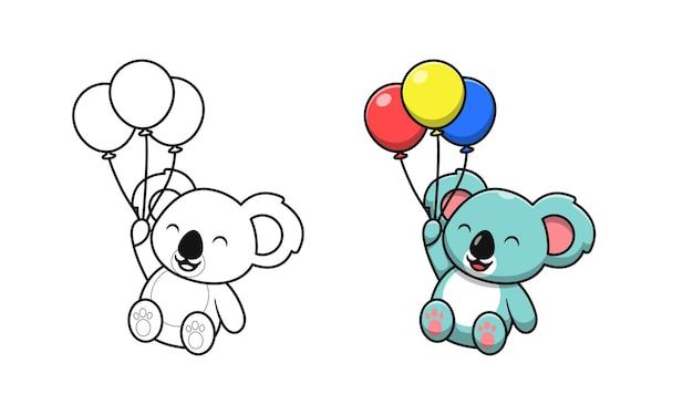 Schattige koala met ballonnen cartoon kleurplaten voor kinderen