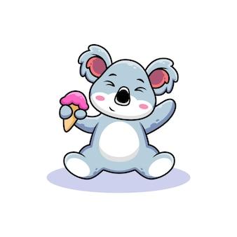 Schattige koala met ijshoorn cartoon
