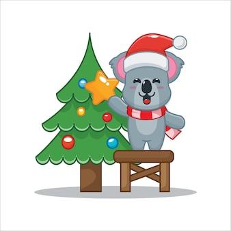 Schattige koala met kerstboom leuke kerst cartoon illustratie