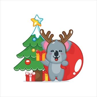 Schattige koala met kerstcadeau leuke kerst cartoon illustratie