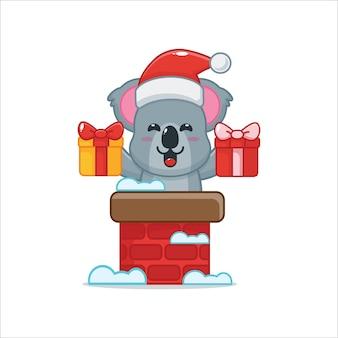 Schattige koala met kerstmuts in de schoorsteen leuke kerst cartoon illustratie