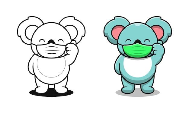 Schattige koala met masker cartoon kleurplaten voor kinderen